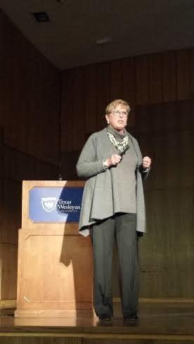 Cathy Hirt gives the keynote address at Tuesday's Goostree Symposium