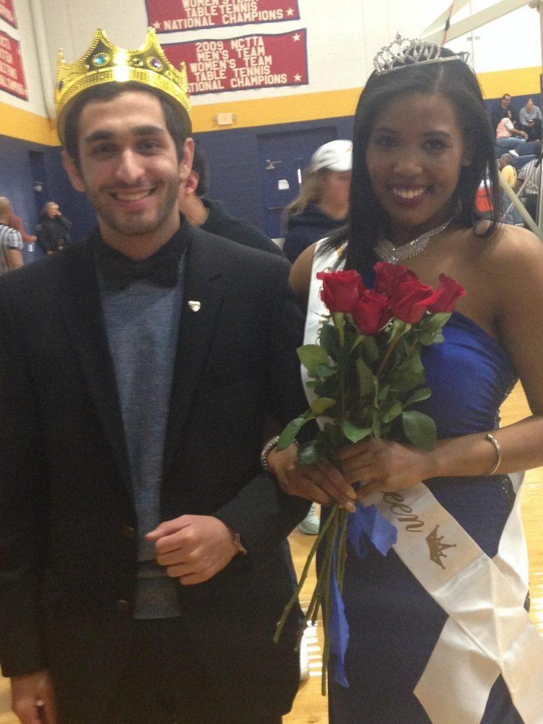 """Homecoming King """"Fez"""" Alghussein with Homecoming Queen  Victoria Johnson after victory. Photo by Dalise DeVos."""