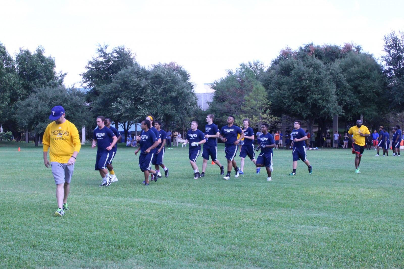 Football team holds first practice