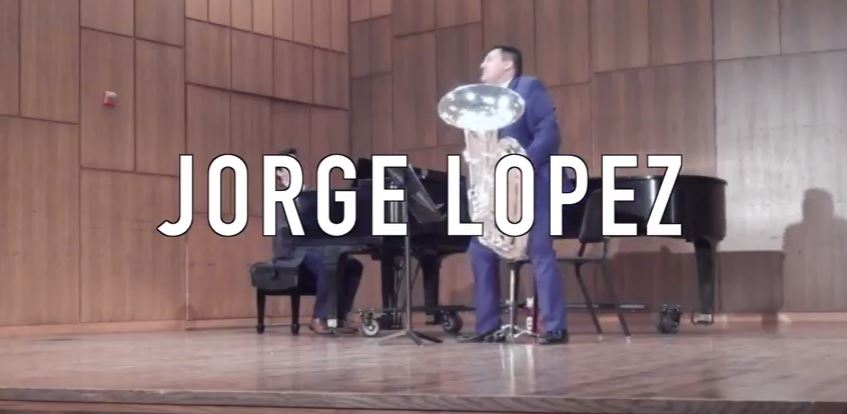 Jorge Lopez shines as a tuba player