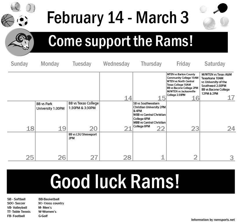 Sports Calendar Feb 14 – March 3