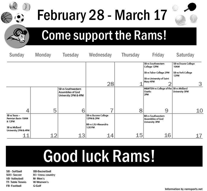 Sports Calendar Feb 28 – March 14