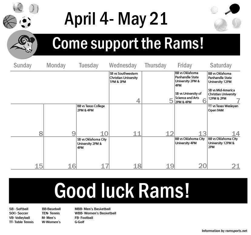 Sports Calendar April 4 – 21