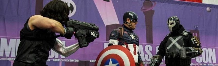 2015 Comic Con attendees dress up as The Winter Soldier, Captain America, and Cross Bones.