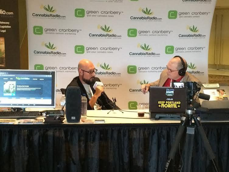 SWCCE potfessor Cory Anderson (left) chats with radio host Russ Belville (right) at a cannabis conference in Phoenix last October.