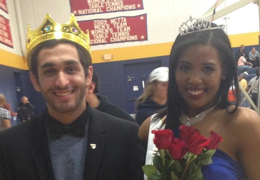 Homecoming King Fez Alghussein with Homecoming Queen  Victoria Johnson after victory. Photo by Dalise DeVos.