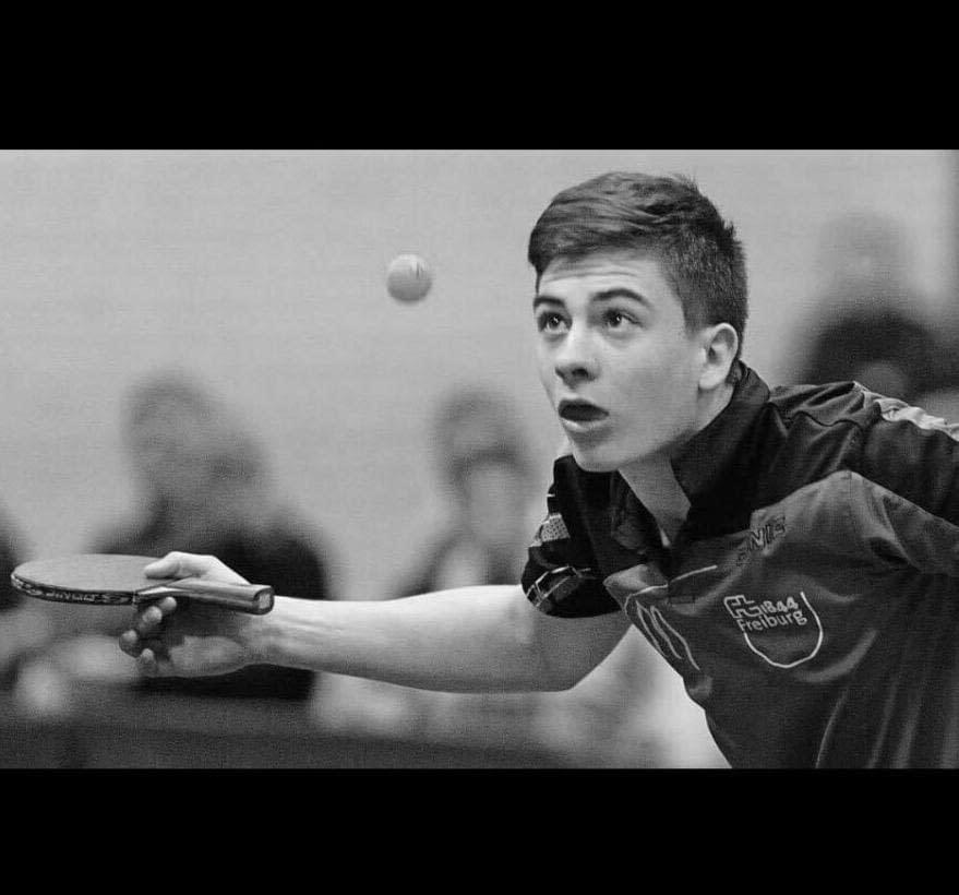 Jason Plog, photographed here playing for his former club team in Germany, currently has a rating of 2377 in the National Collegiate Table Tennis Association and is ranked No. 26 in the country.