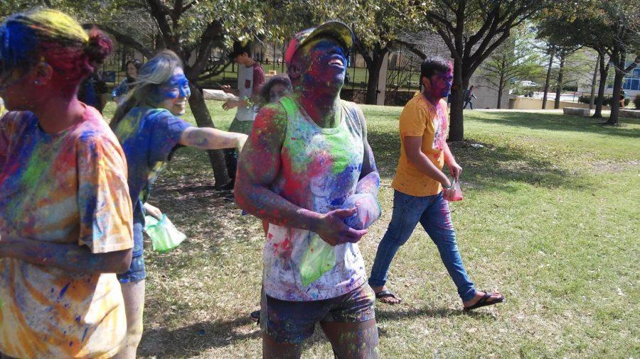 Matthew Mayfield  enjoyed celebrating the Holi Festival with fellow students. Photo by Rowan Lehr