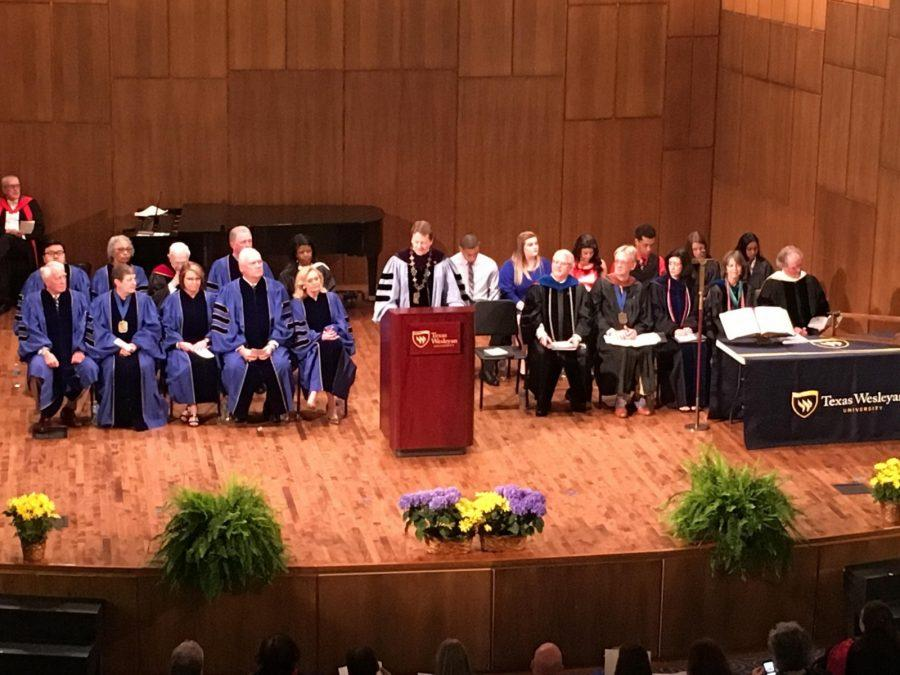 President Frederick Slabach delivers his statement of purpose at Fridays robing convocation.