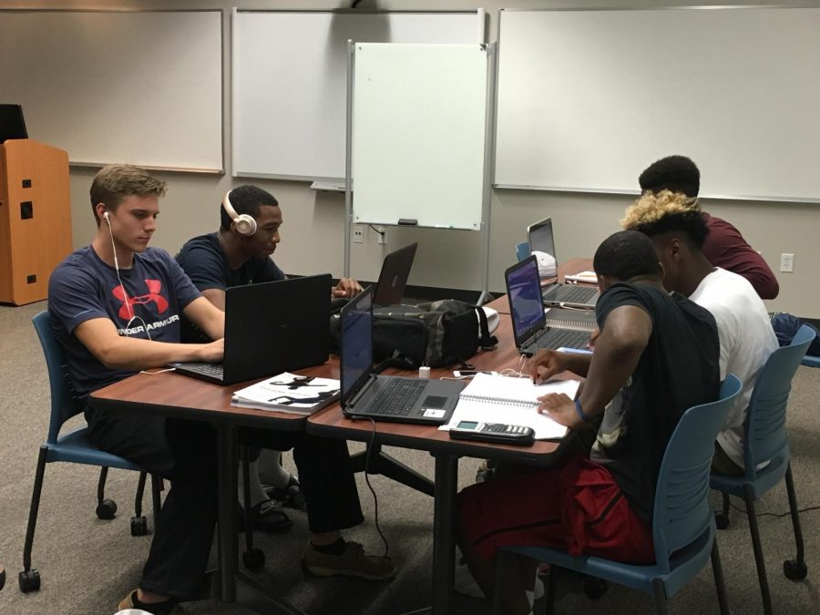 Football players are scheduled to study in the new classrooms in the library on Monday, Tuesday, and Thursday nights. (Photo by Dalise DeVos)