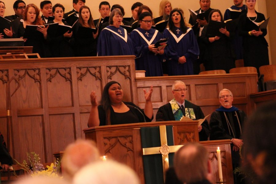 Aimee Bozarth, Dr. Robert Holloway and Dr. Allen Henderson sing You Are My All In All during Sundays 125th anniversary celebration. Photo by Hannah Onder.