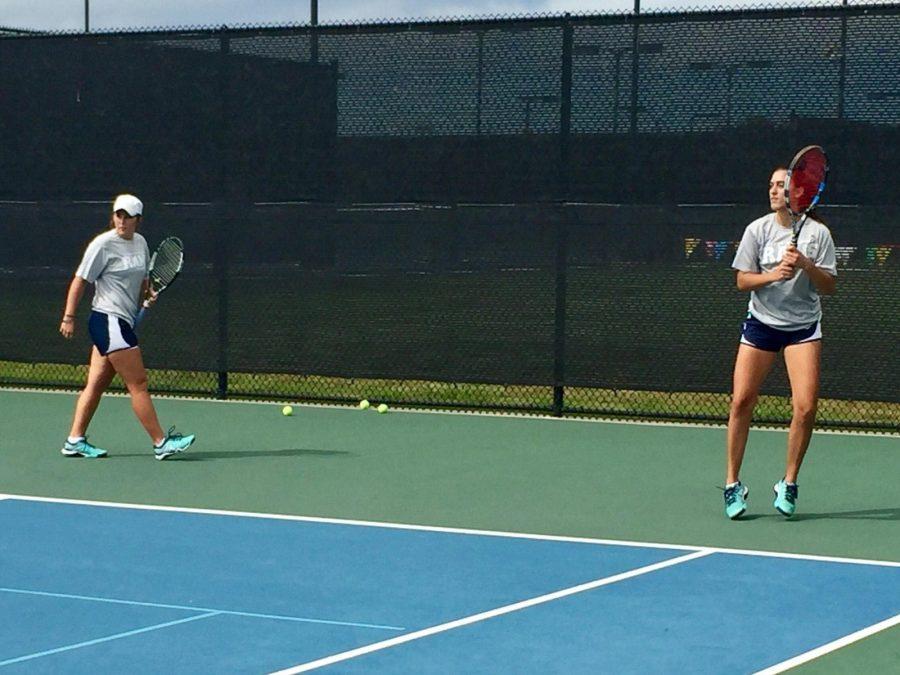Lady Rams tennis players Maggie Brasher and Ema Segetlija at practice earlier this week. Photo by Cheyan Fite.