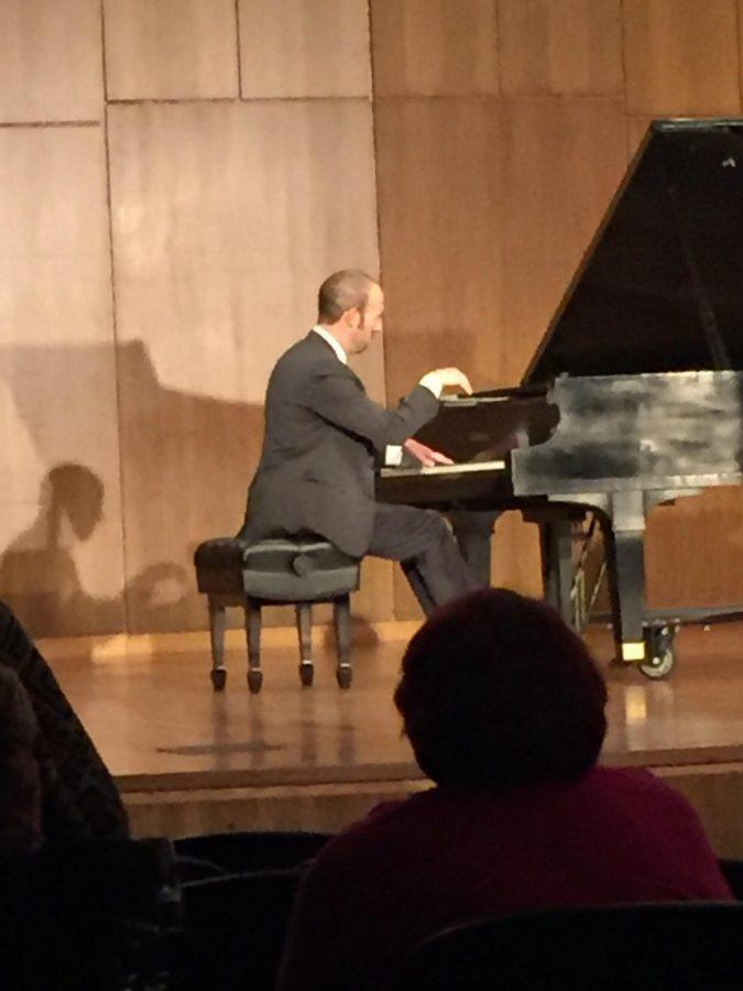 Piano professor Jose Antonio Cubela performs Malaguena at Tuesdays faculty showcase.