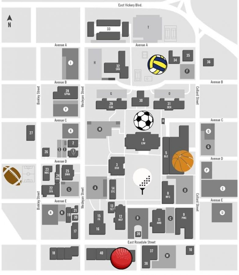 This map shows the locations of the intramural sports that will be played. The locations include the Sid W. Richardson Center for basketball, the mall for golf, the grassy area outside Stella Russell Hall for soccer, and the Boys & Girls Club for dodgeball. (Infographic by Akeel Johnson)