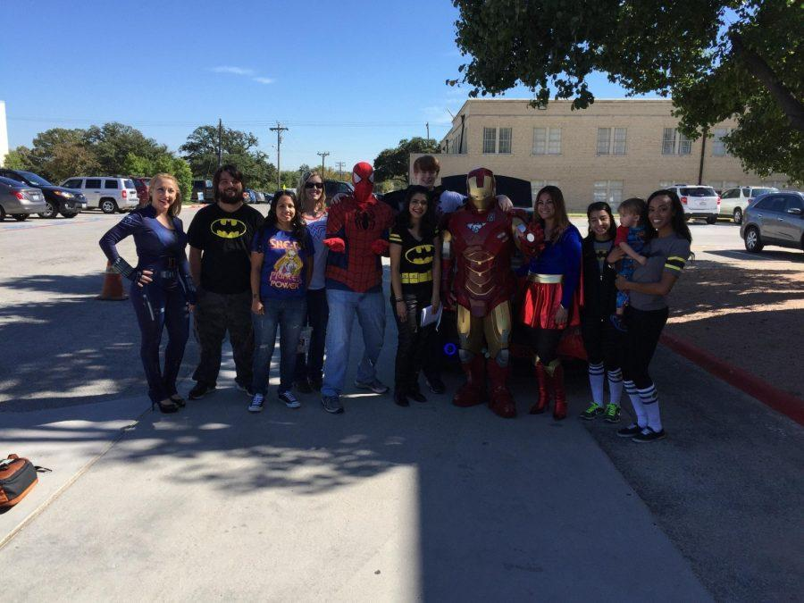 Texas Wesleyan students  and faculty cosplay as comic book characters earlier this year. Photo courtesy of Dr. Cary Adkinson.