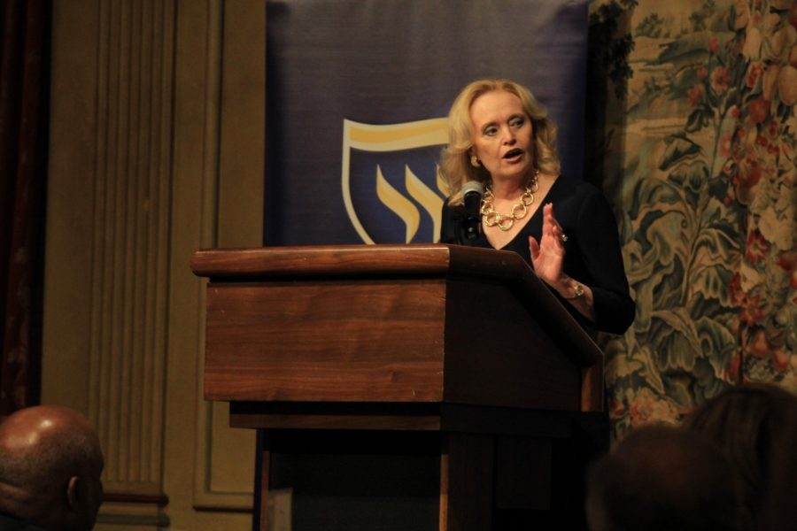 Board of Trustee Chairman and Alumna of the Year, Beverly Powell, speaks at the Alumni Medal Dinner on Friday.Photo by Shaydi Paramore