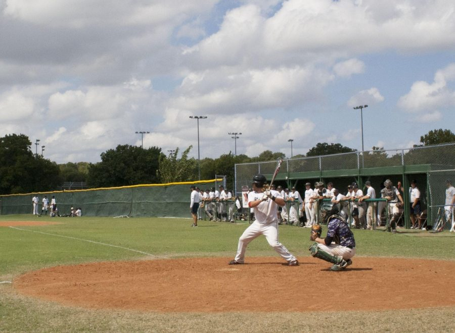 Rams first baseman Josh Mender plays in a scrimmage with Richland College on Sept. 24. The Team is playing several exhibition games this fall.  Photo by Karan Muns