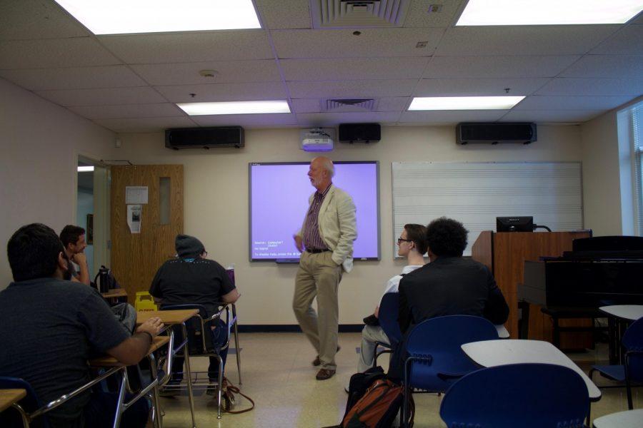 Dr. John Fisher teaches a Music Theory 1 class.