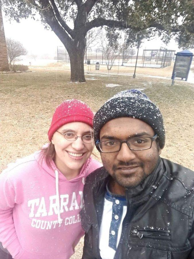 Sophomore biology major Danura Wayantha experiences his first snow day at Texas Wesleyan. Photo contributed by Katie Matthews