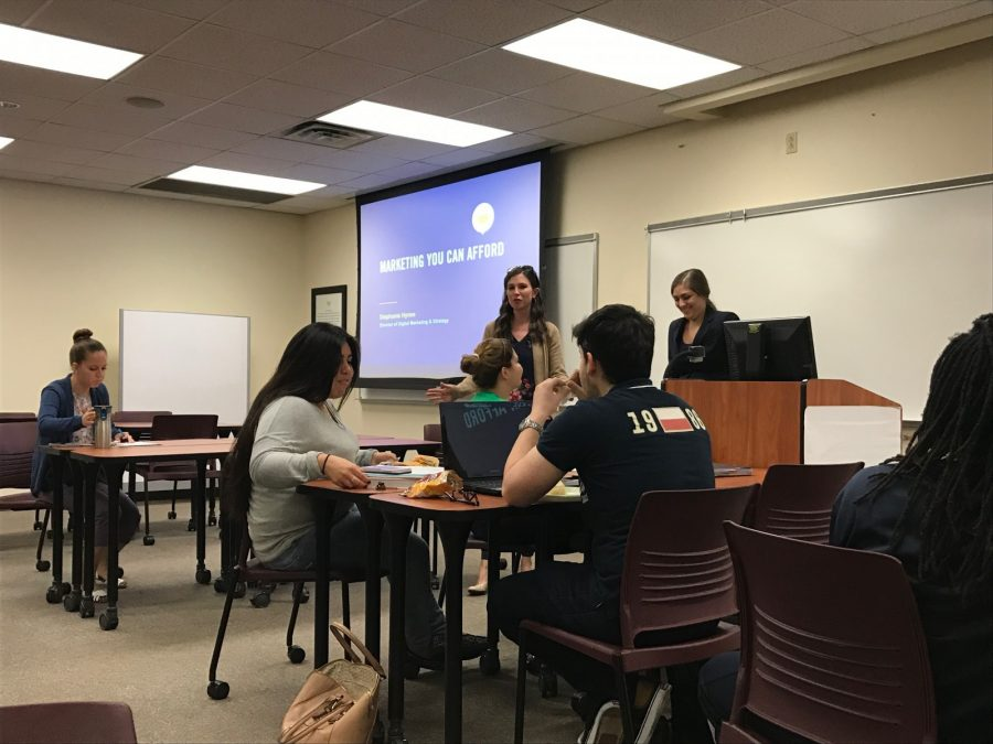 Special guest speaker ,Stephanie Hynes, speaks to students at the Business Tips for Social Media workshop. Photo by April Suarez Olvera