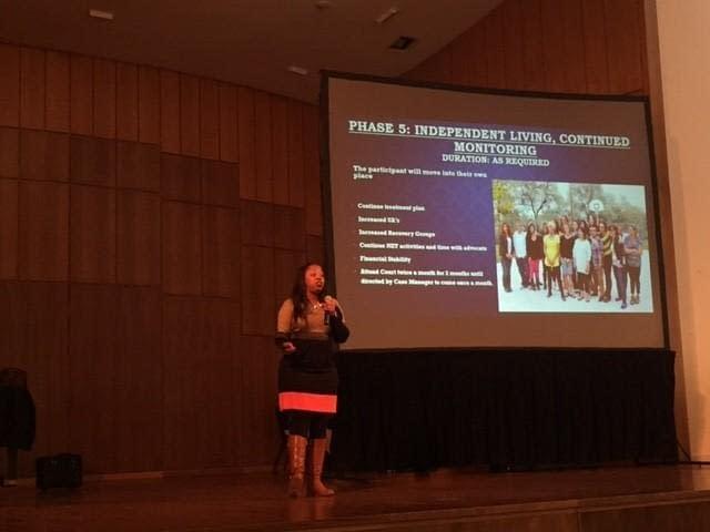 Latasha R. Jackson-McDougle speaks at Human Trafficking Awareness event. photo by: Chalon Anderson