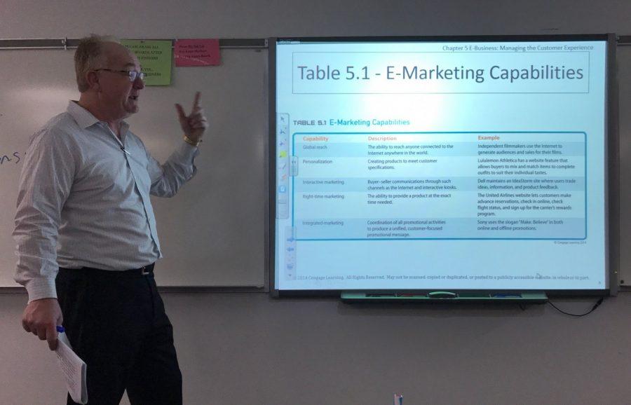 Adjunct+business+professor+James+Wetrich+teaches+Principles+of+Marketing.