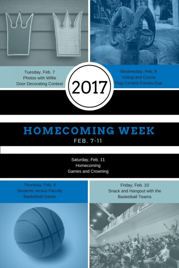 The 2017 Homecoming week schedule includes several activities leading up to the games.