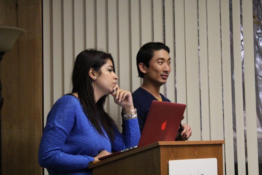 SGA President Zahraa Saheb presents a bill at the SGA meeting on Feb. 2.  Photo by Nicholas Acosta.