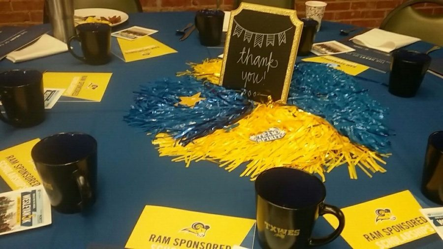 Decorations presented on the tables at the Alumni Board Thank You Breakfast on Friday. Photo by Shaydi Paramore