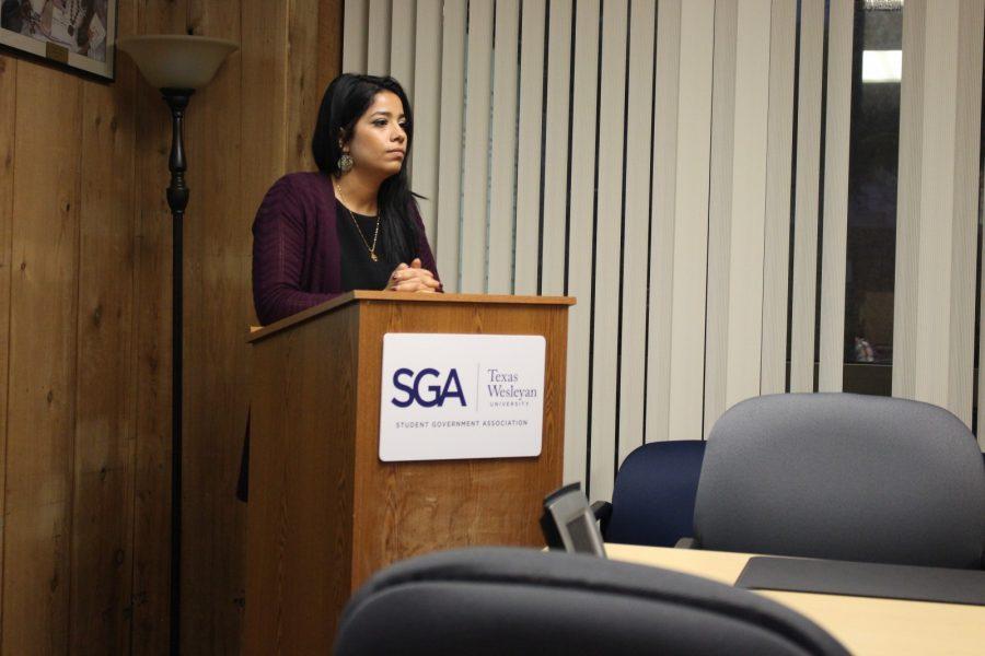 SGA President Zahraa Saheb speaks at a recent meeting. Photo by Nicholas Acosta