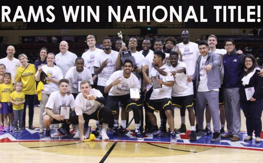 Players, coaches and family members celebrate beating Life University to win the NAIA Division 1 Mens Basketball Championship on March 21.