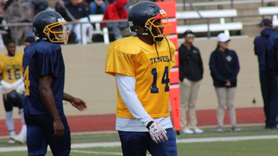 Freshman cornerback Marcus Haynes playing on offense at the Blue and Gold Game on Saturday at Farrington Field. Photo by Matt Smith.