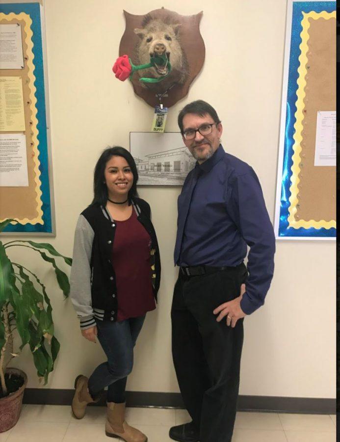 Celeste Pena(left) with Associate Professor of Psychology, Dr. Jay Brown. Photo by Mattie Morris