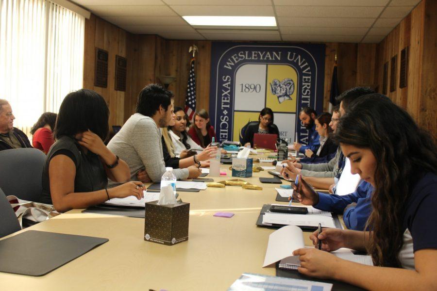 SGA President Zahraa Saheb in a business meeting earlier this semester. Photo by Nicholas Acosta