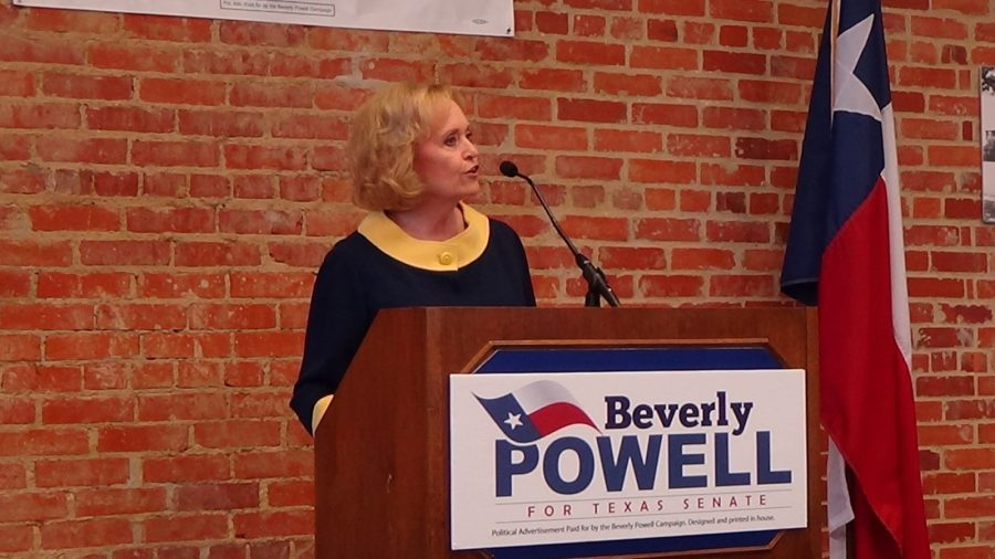 Beverly Volkman Powell announces her candidacy on Saturday in the Baker Building. Photo by Heather Olivia Shannon