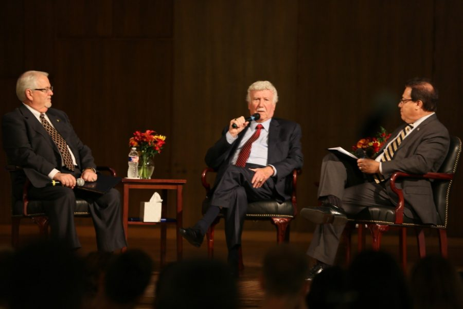 Dean Allen Henderson, Paul Dorman, and Hector Quintanilla talk at the event at Martin Hall. Photo provided by Chuck Greeson/Marketing &Communications