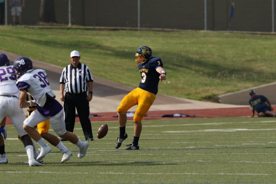 Colby Reeds 57-yard punt last week against Texas College set up the Rams first safety of the season.  Photo by Little Joe