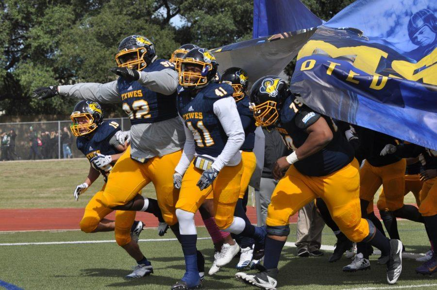 The Rams take the field for the Wayland Baptist University game. Photo by Little Joe