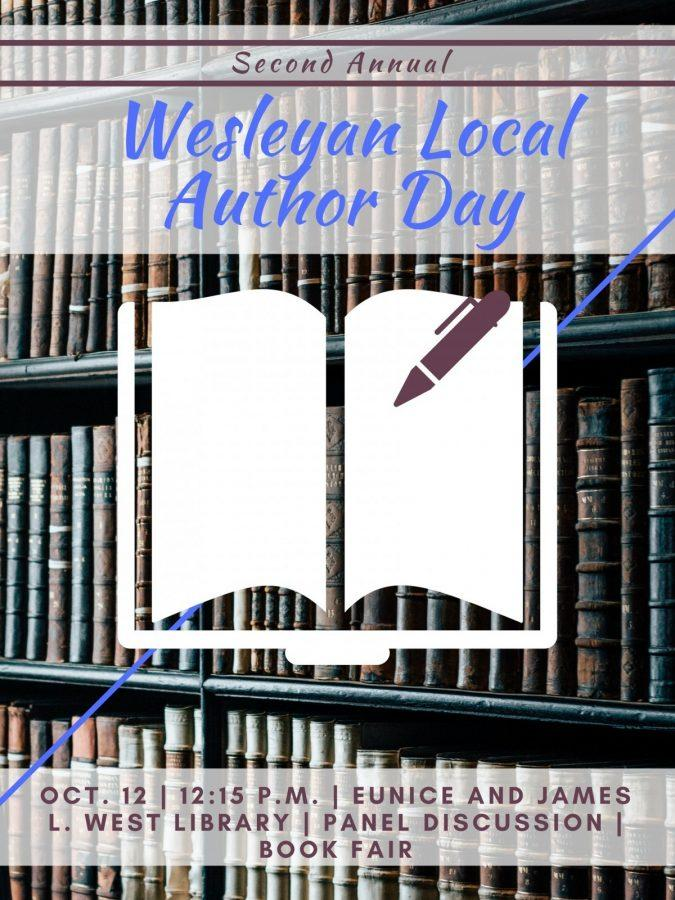 The second Wesleyan Local Author Day is Oct. 12 at 12:15 p.m. Graphic by Hannah Onder
