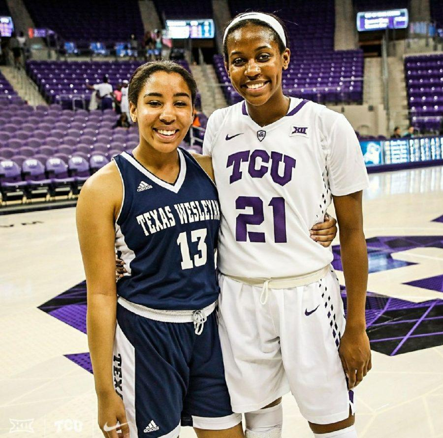 Sisters face each other on the court