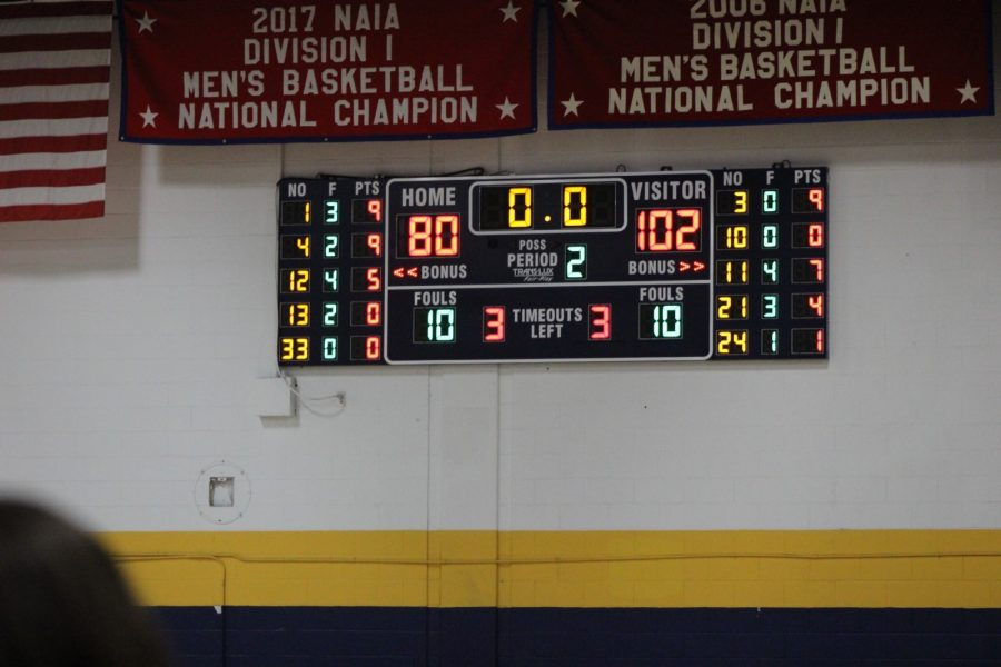 Final scoreboard of the mens basketball loss. Score was 80 to 102.  Photo by Shaydi Paramore