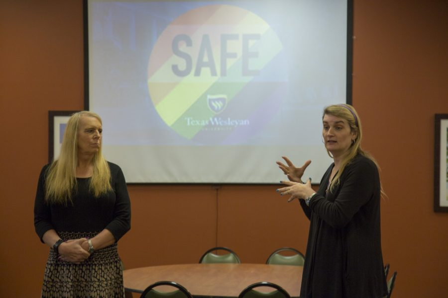 Katie Sprinkles (right) talks about the importance of having safe zones on campus during the panel at Lous Place. Photo contributed by Chuck Greeson