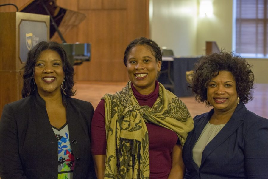 Associate Vice President of Human Resources Angela Dampeer, Dr. Candace Gamble, and councilwomen Kelly Allen Gray (left to right) pose before the event in Martin Hall. Photo by Chuck Greeson