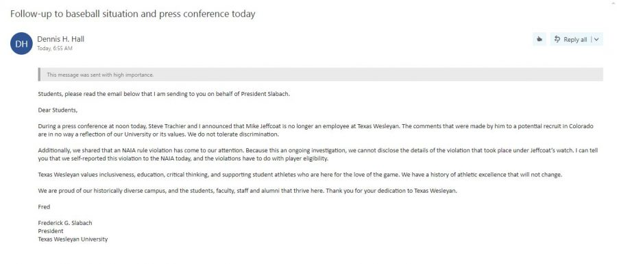 This is the email Dennis Hall sent to students this afternoon updating them on the situation. Graphic by Hannah Onder