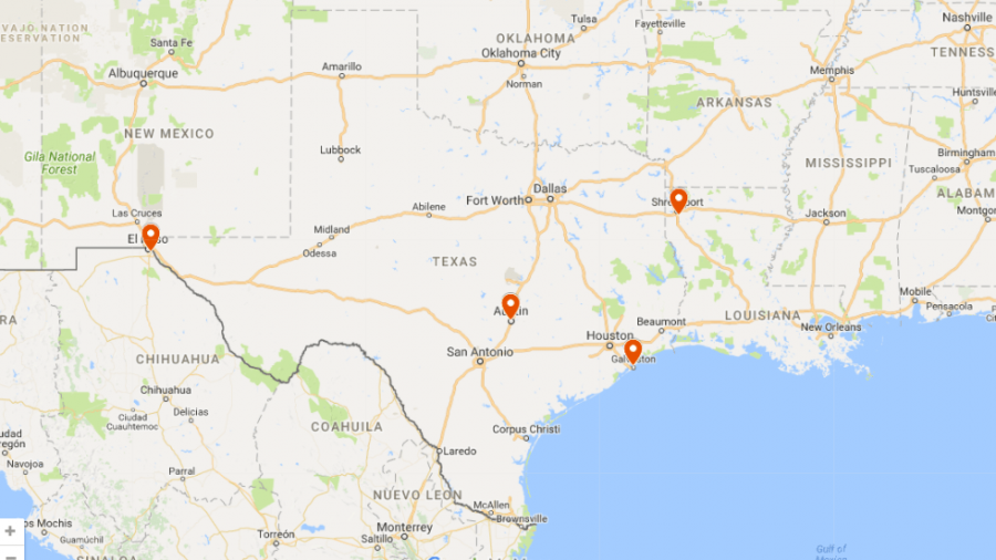 The Rams are excited for spring break and the chance to spend time away from responsibilities. This map shows where several Texas Wesleyan students are going. Map by Karan Muns