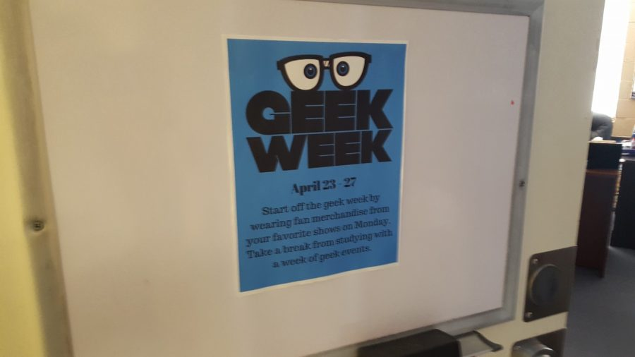This flyer on the office door of Dr. Eddy Lynton and Dr. Cary Adkinson advertises the Geek Week events. Photo by Amanda Roach