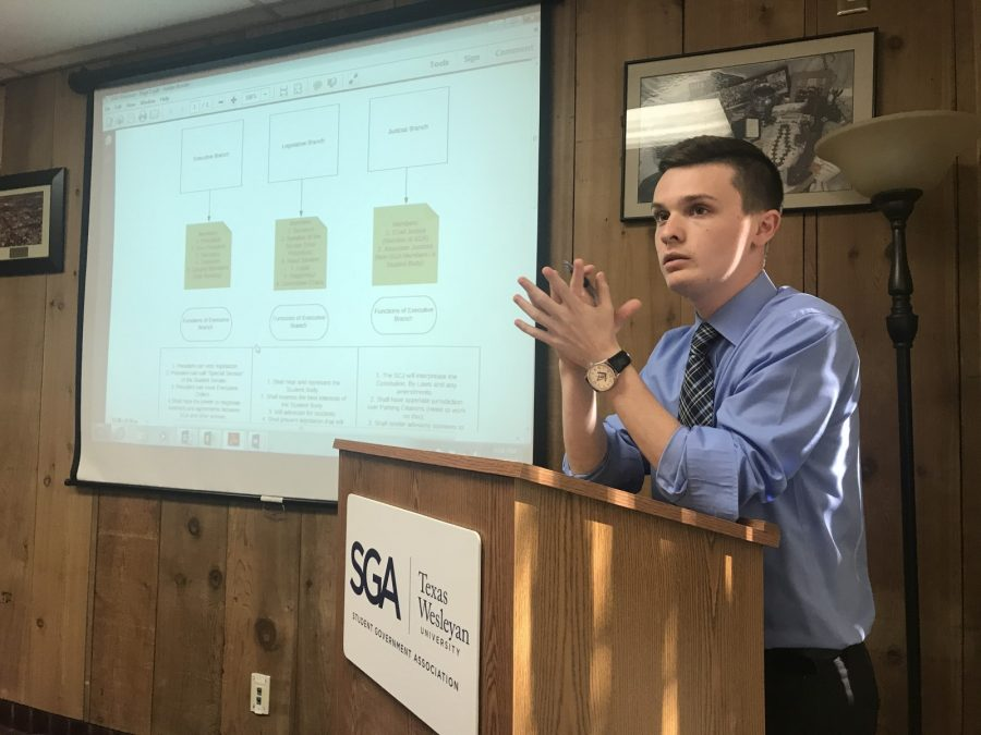 Nicholas Davis, pictured here at meeting last semester, resigned from SGA on Friday. Photo by Hannah Lathen
