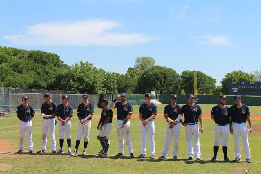 Seniors celebrate their last home game at Texas Wesleyan with team-autographed baseballs. Photo by Matt Smith