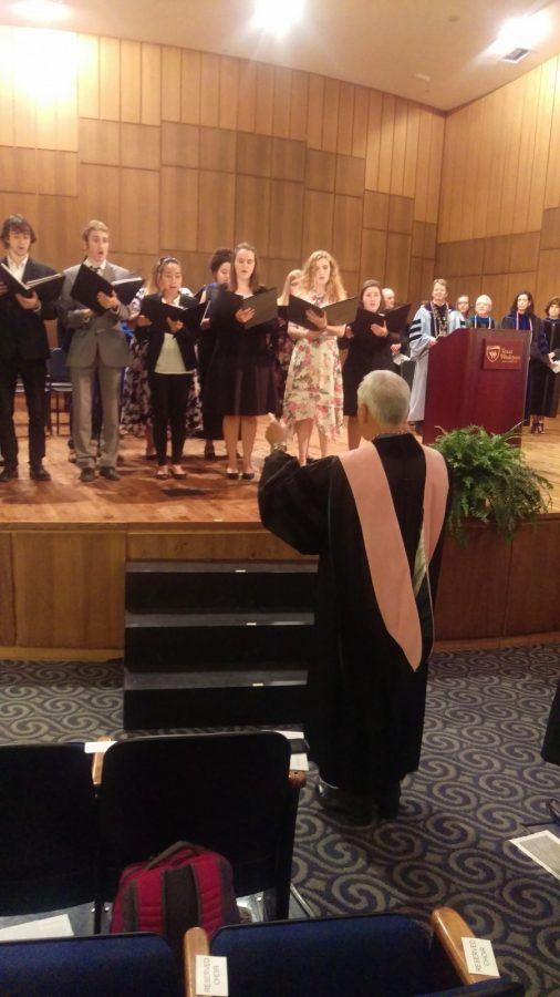 The Wesleyan Chamber Singers perform the Alma Mater at the beginning of Tuesdays convocation. Photo by Hannah Onder