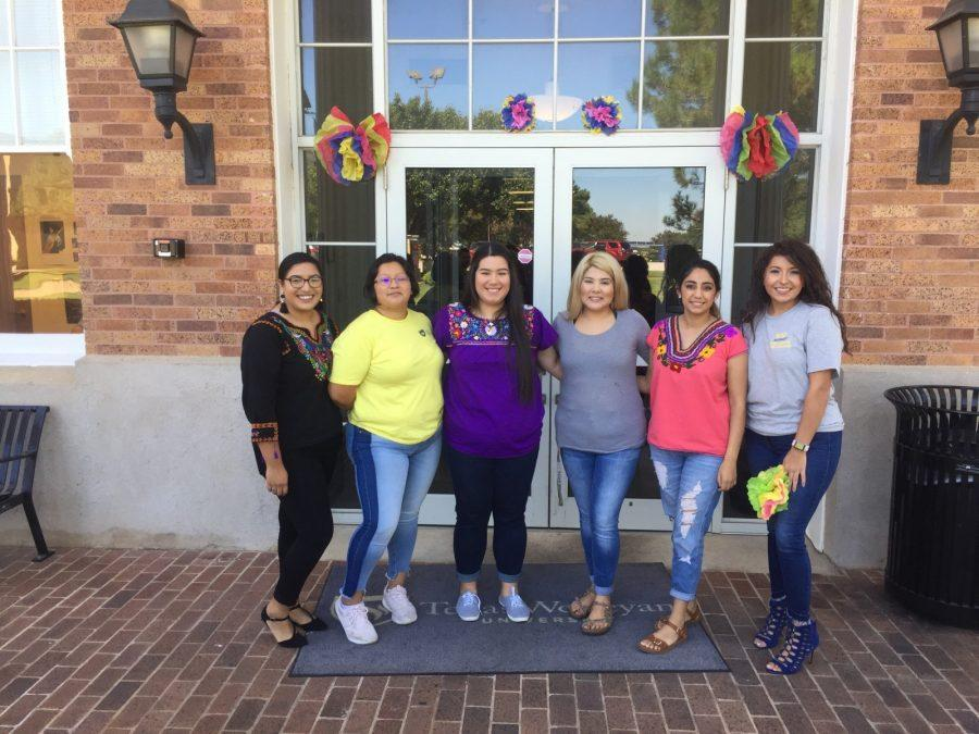 Texas Wesleyan BESO members (from left to right) Jacquelynn Olalde, Pamela Parra, Sandra Carranza, Liseth Samano, Bianca Serrato and Esther Iniguez stand outside Martin Hall after Thursdays event. Photo by David Cason
